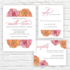 Watercolor Roses Wedding Invitation by J. Amber Creative