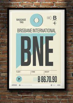 Brisbane Australia Travel Poster Art Illustration Print Vintage by Neil Stevens