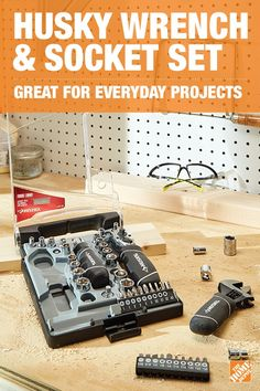 Give Dad a wrench and socket set he'll use over and over again. The Husky Stubby Wrench and Socket Set has a lifetime warranty and shorter handle size to provide comfort, added leverage, and a superior grip. With an easy-to-clean chrome finish, this reliable tool set is a gift he'll use all year.