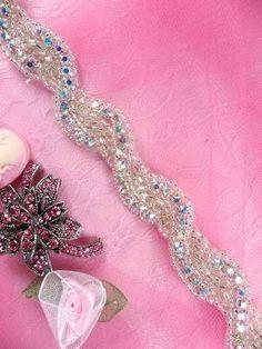 0475  Aurora Borealis Crystal AB Rhinestone Braided Silver Beaded Trim