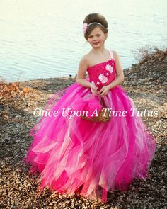 This stunning dress is just perfect for the hot pink wedding, pageants, and more! Made with a hot pink unlined crochet top (can be lined if