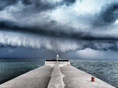 Thunderstorm clouds roll in from Lake Superior in Grand Marais, Mich.