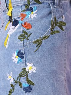 Embroidered Floral Denim Skirt BLUE: Skirts | ZAFUL