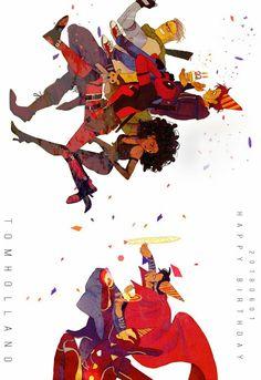 Happy birthday Tom Holland!! || Deadpool 2 / Avengers Infinity War || Cable, Domino, Deadpool, Dr. Strange, Iron-Man, Spider-Man || Cr: Luoman