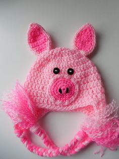 Baby Animal Hat  Pig Hat  Photo Prop by ShelleysCrochetOle on Etsy, $10.00