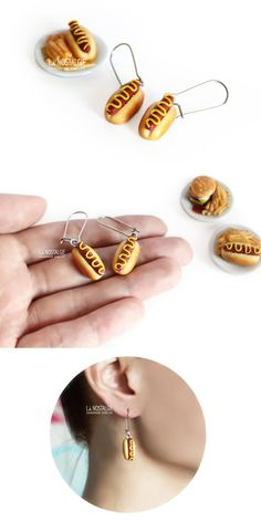 Hot dog earrings new york style. Classic bbq sausage with a swirl of mustard. Bijoux d'été hotdog Americain #BijouxGourmands #HotDogGifts #SummerJewelryTrend2017