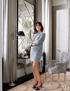 Swanepoel Management and Hubert Zandberg Interiors renovated the London residence of Shirin Elghanayan and her family. Here Elghanayan stands in her dressing room, which is furnished with a mirrored vanity and a Collection Pierre chair from David Sutherland; the curtains are of a Sahco fabric, and the carpet is by the Rug Company. For details see May Sources. Step inside another historic London townhouse updated with cutting-edge art and design Tour Sting and Trudie Styler's stunning London…