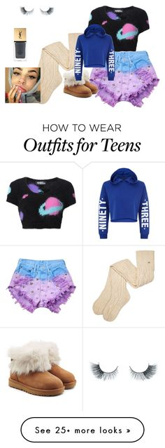 """""""night wear 1"""" by inspiredbyart345 on Polyvore featuring Unicorn Lashes, Yves Saint Laurent, Runwaydreamz, Jeremy Scott, UGG and New Look"""