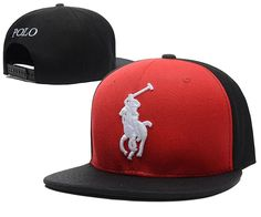 Mens Polo Ralph Lauren White Pony Embroidery 2016 Fashion Trend Top Quality Leisure Snapback Cap - Black / Red