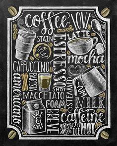 Kaffee Zeichen Küche Kunst Kaffeebar Tafel Kreide von TheWhiteLime