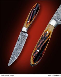"""It's smaller than it looks! It is only 6 1/2"""" long. Which makes it a good bird and trout knife. Damascus is the blade and amber stag is it's game. I'm back now, btw. No more 32 hours straight in my..."""