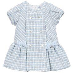 Mayoral Baby Girls Pale Blue Tweed Wool Dress at Childrensalon.com