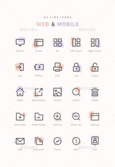 25 Line Web & Mobile Icons. Fully customisable set of icons. Online Web Design, Web Design Icon, Web Design Quotes, Creative Web Design, Web Design Services, Web Design Trends, Web Design Company, Web Design Inspiration, App Design