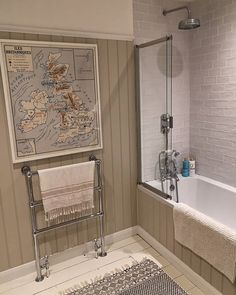 High tongue and groove paneling with a gorgeous towel rack and beautiful rustic metro tiles in this bathroom! Fully embracing this country style! Rustic Bathroom Shower, Bathroom Towel Decor, Rustic Bathroom Designs, Nautical Bathrooms, Bathroom Interior Design, Bathroom Ideas, Shower Rooms, Bathroom Inspo, Metro Tiles Bathroom