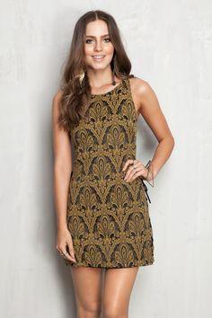 vestido jacquard recorte lateral   Dress to