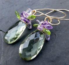 Green amethyst earrings in 14k gold fill, amethyst, long wire wrapped earrings - 11 Main