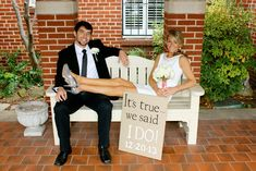 Surprise marriage announcement with burlap hand painted canvas
