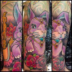 Rabbit tattoo by Ben Gun @benguntattoo