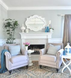 living room grey and blue Light grey and blue living room For the home Juxtapost WgRxqzcy Living Room Paint, Living Room Grey, Formal Living Rooms, Home Living Room, Living Room Decor, Inspiration Design, Living Room Inspiration, Home Decor Inspiration, Decor Ideas