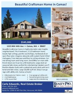 Real Estate for sale at $545,000! Come and view this beautiful four bedroom, two full and one half bath, 2741 square foot two story Craftsman style Lake Heights view home on a large .37 acre lot located at 1525 NW 44th Avenue, Camas, Washington 98607 in Clark County area 32 which is in the Camas city limits. The RMLS number is 18089182. It has one gas burning fireplace and a territorial view which includes a view of a lake. It was built in 1994 and has an attached 3 car garage. The local…