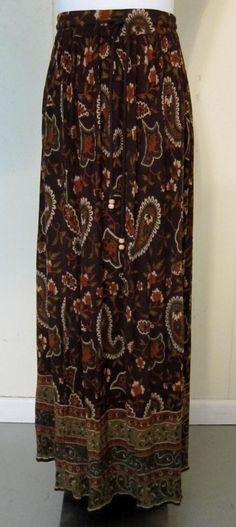 Liz Baker Essentials Womens Size XL Long Brown Paisley Rayon Skirt Elastic Waist #LizBaker #Maxi