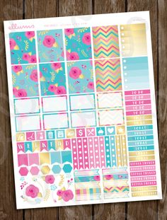 Rose Weekly Planner Stickers | PRINTABLE Instant Download | Pink and Gold Rose Stickers | EC Weekly Sticker | Spring Pastels | Erin Condren by ellums on Etsy