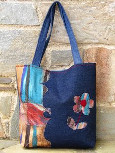 Upcycled jean an upholstery fabric tote bag by ZayiaCraft on Etsy