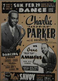 Poster, Charlie Parker at the Savoy Ballroom. (Image courtesy of the Bronzeville Visitor Information Center. Jazz Poster, Blue Poster, Jazz Artists, Jazz Musicians, Famous Artists, Vintage Concert Posters, Vintage Posters, Francis Wolff, Festival Jazz