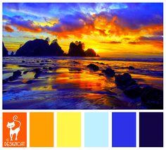 Golden Sunset - Golden Orange, Umber, Yellow, Pastel Blue, Blue, Navy - Designcat Colour Inspiration Board