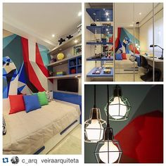Detalhes de quarto de menino em tons de azul, verde e vermelho. Ambiente Chris Silveira, foto Mariana Orsi.
