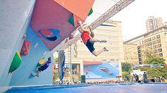 Shauna Coxsey at the 2013 IFSC Bouldering World Cup in Chongqing, China