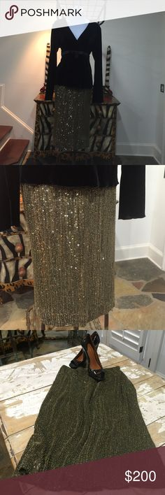 Ralph Lauren Runway Gold & Black Beaded Skirt-10 Fully Lined Sequin Skirt. Must Have to Accent a Your Favorite Cocktail Top Ralph Lauren Skirts Midi