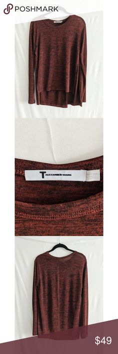 T by Alexander Wang Red Asymmetrical Top Burgundy red heathered long sleeved t-shirt with asymmetrical paneling. Because of all the panels there are so many ways to style this piece! Scoop neck, dual slits at sides, high low hemline. Gently worn.  96% Polyester, 4% Spandex  size on tag: xs  measured flat in inches Bust:18 Sleeve: 26 Length: 23.5  In Very Good Condition! T by Alexander Wang Tops Tees - Long Sleeve