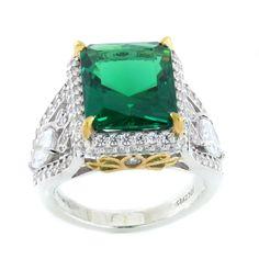 Jean Dousset Absolute 2 Tone Emerald Radiant Cut Pave & Pear Ring 7 D736 #JeanDousset #CocktailRing #HSN