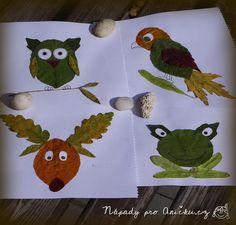 Obrázky z podzimního listí - Autumn leaves pictures Toddler Crafts, Diy And Crafts, Crafts For Kids, Arts And Crafts, Leaf Animals, Autumn Activities For Kids, Leaf Crafts, Autumn Crafts, Leaf Art
