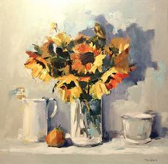 Scottish Artist Mary DAVIDSON-Sunflowers