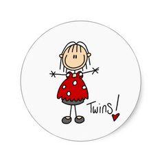 Expecting Twins Stick Figure Sticker