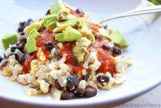Clean Eating Black Bean Scramble -- Made it for breakfast this morning with some blueberry salsa. So good!!
