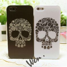 Skull of Flowers iPhone 5 Case, iPhone 4/4S Case, iPhone Cases for Couples, Best Friends. $13.99, via Etsy.
