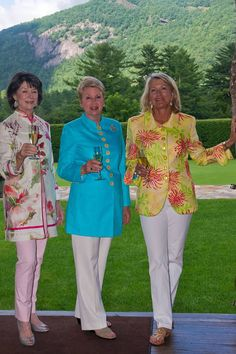 Zonnie Sheik wearing Barga jacket in Meadow, Kitty Davis in linen Giorgio and Russell Holliday wearing an original Charleston in Lilly Pulitzer for Lee Jofa Cashiers, NC (July. 2012)