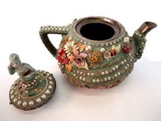 MOSAIC TEAPOT Floral motif with stained glass by ParadiseMosaics