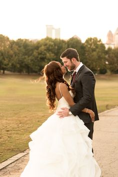 This view though. Outside Park Tavern in Atlanta, Georgia, Chris and Chantal's wedding photo shoot was just to die for! This beautiful bride's ruffle wedding gown and long brown curls are stunning. This couple is just stunning! Park Tavern, Brown Curls, Piedmont Park, Atlanta Georgia, Wedding Photoshoot, Beautiful Bride, Special Events, Photo Shoot, Wedding Gowns
