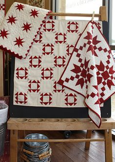 .red white quilts