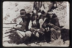 Apache Scouts with rifles.  Center scout with  US Indian War Army Calvary Shako. $595~$695WK Stay at Hummingbird Ranch vacation House in Southeastern AZ.  360 mountain views, 3 Ghost Towns, 2 National Parks seen from Ranch and tons of local rich Apache history of Cochise & Geronimo to explore. http://vacationhomerentals.com/68121  520-265-3079