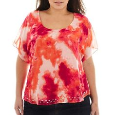 One World Tie-Dye Top with Tank - Plus -End of the Season Plus Sized Womens Clothing #DEALS