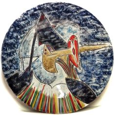 GIANNI DOVA (1925-1991) VOLATILE DIPINTO A MANO SU PIATTO IN CERAMICA 50CM ☲☲☲☲☲☲☲☲☲☲☲☲☲☲☲☲☲☲☲☲ BIRD ON CERAMIC PLATE