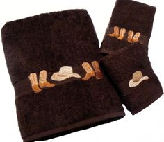 Boots & Hat 3 pc. Embroidered Towel Set in Chocolate by KLI Home Design