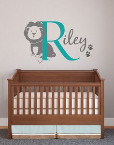 Large Lion Wall Decal with Initial, name and paw prints. - Animal Jungle Theme Nursery Decals
