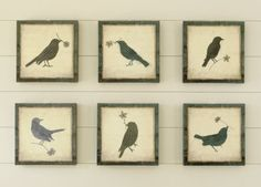 DIY Ballard Designs bird-art knock-offs. Tutorial with free printable bird pattern and instructions for the type settings.