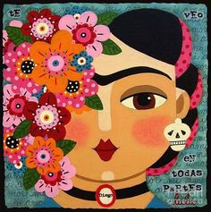 Frida Kahlo With Flowers And Skull Painting